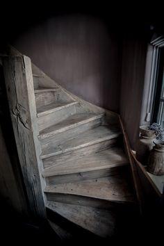 Trapleuning steigerhout home pinterest interiors for Houten trap behandelen