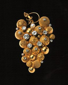 gold grape brooch