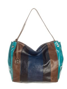 Italian leather blue hobo bag. This lightweight and roomy hand-stitched leather purse in Navy, brown, turquoise and blue stripes will quickly become a favorite. Single leather strap allows this purse to be carried or looped over a shoulder.