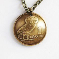 Greek Owl Coin Necklace Phoenix Pendant 1 Drachma by Hendywood