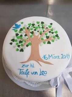 Tauftorte, Bub, Lebensbaum, mit Fondant, Christening Cake, Boy 17 Birthday Cake, Birthday Cakes For Teens, Cakes For Boys, Happy Birthday, Christening Cake Boy, Nutella, Macaron, Savoury Cake, Cake Pans