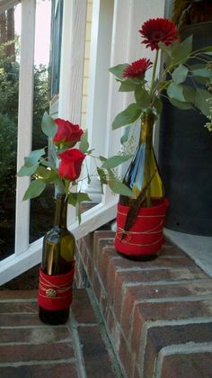Upcycled wine bottles and red burlap