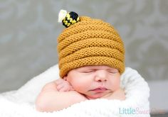 Little Sweet Bee Hat  Knit Baby Hat by LittleSweetOneShop on Etsy, $28.00 #babyhat @BabyList Baby Registry Baby Registry