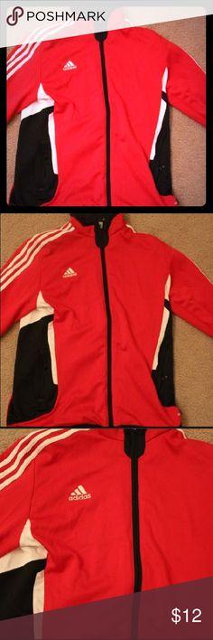 Adidas zip up jacket. Adidas zip up soccer jacket. Red, White, and Black. adidas Tops Sweatshirts & Hoodies