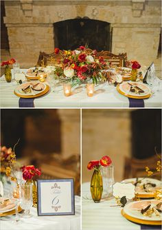 vintage blush and blue table setting