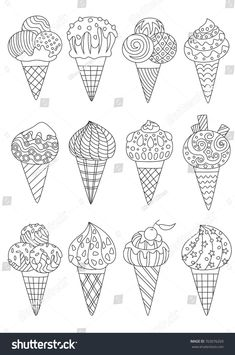 Outlined zentangle anti-stress coloring page ice cream set. Coloring book page for adults and children Cupcake Coloring Pages, Cute Coloring Pages, Coloring Books, Free Coloring, Doodle Drawings, Art Drawings Sketches, Doodle Art, Art Classroom Management, Surreal Artwork