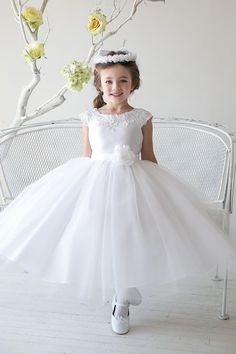 White Satin Embroidered Lace Waistline Tulle Flower Girl Dress (Sizes 2 and  4 Only 1 Left) - Formal Party Girl Dresses - GIRLS 66d6f2feebe9