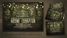 Rustic and romantic wedding invitation with tree path in forest & hanging string lights. Beautiful rustic country wedding suite, perfect for true nature lovers. Matching stationary: twinkle lig...