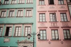 coral and mint buildings