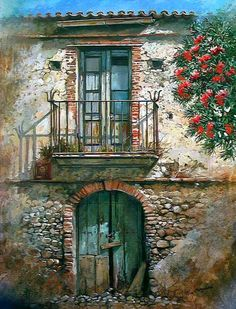 Photos from Francesco Mangialardi (oilpaints) on Myspace Mail Art, Painting Inspiration, Painting & Drawing, Watercolor Paintings, Scenery, Images, Doors, Fine Art, Drawings
