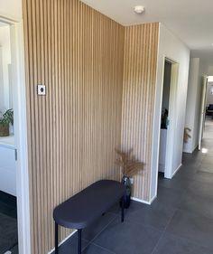 Wood Slat Wall, Wood Panel Walls, Wood Paneling, Home Entrance Decor, House Entrance, Home Decor, Office Interior Design, Office Interiors, Acoustic Wall Panels