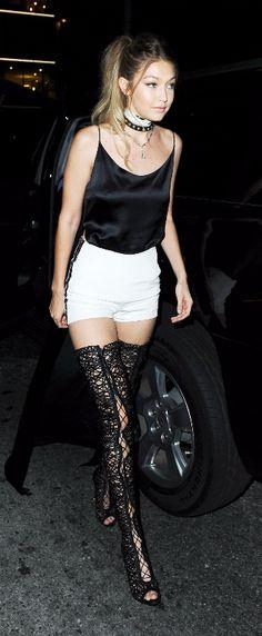 Gigi Hadid ♥ black lace boots