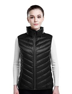 Puredown Womens Lightweight Down Packable Puffer Vest Black S Size >>> For more information, visit image link.