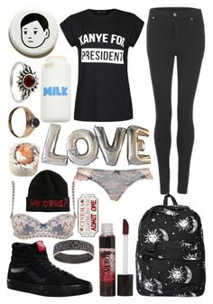 """Untitled #3394"" by frerardforever ❤ liked on Polyvore featuring Vans, Cheap Monday, Ally Fashion, Amber Sun, Motel, DuWop and Topshop"