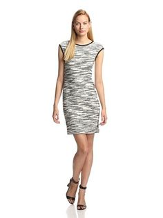 60% OFF DEREK LAM Women's Knit Cap Sleeve Dress (White/Black)