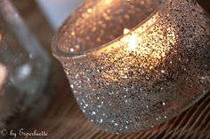 Art make your own sparky candle holder glitter-glitter-glitter Silver Christmas, Christmas Love, Diy Candles, Candle Jars, Glitter Candle Holders, Sparkle Party, Christmas Table Decorations, Wedding Pins, All That Glitters