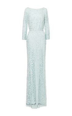 Mint Embroidered Long Sleeve Gown by Elie Saab