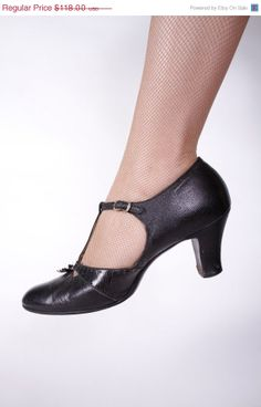 BLACK FRIDAY  1930s Vintage Shoes  Black Leather TStrap by FabGabs, $94.40