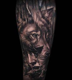 Wolf girl morph thing! Cheers Jamie! #frontyardtattoo #blackandgrey #inkjecta #tattooapprentice #wolftattoo #morph