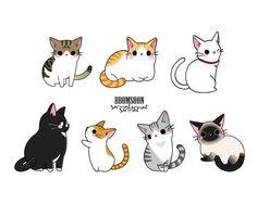 Cute Cat Drawing, Cute Animal Drawings, Kawaii Drawings, Cute Drawings, Cat Cartoon Drawing, Kawaii Chibi, Kawaii Cat, Dibujos Cute, Cute Illustration