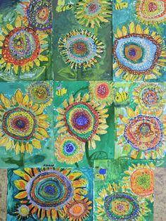 Фотография Kindergarten Art Activities, 2nd Grade Art, Library Art, Sunflower Art, Spring Art, Art Lessons Elementary, Art Classroom, Art Plastique, Teaching Art
