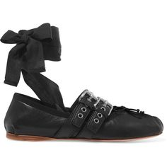 Miu Miu Lace-up leather ballet flats (€595) ❤ liked on Polyvore featuring shoes, flats, my shoes, black, ballet flat shoes, black lace up flats, black leather flats, leather ballet flats and black flats