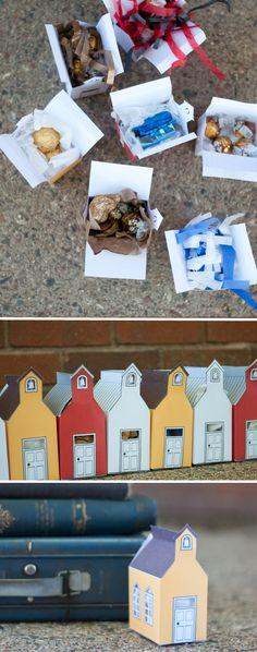 Print & Fold Schoolhouse Gift Box. Free Printable!  |  Design Mom