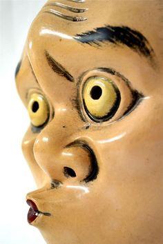 Japanese Traditional Kagura Mask Demon HYOTOKO Samurai Noh Kabuki Bugaku Kyogen