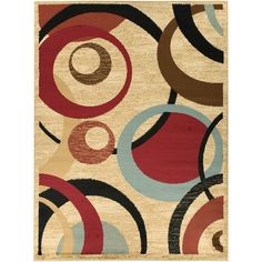Incorporate bright, contemporary style into your home decor with this abstract area rug. A durable polypropylene beige background features red, blue, brown and black accents for a unique decorative effect.