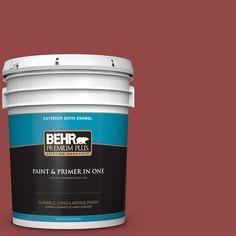 BEHR PREMIUM PLUS 5 gal. #hdc-FL14-4 Cranberry Zing Satin Enamel Exterior Paint