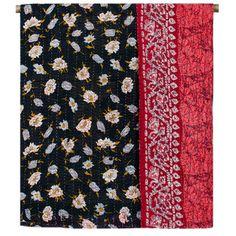 Kantha Stitch Quilt - Black & Red Floral