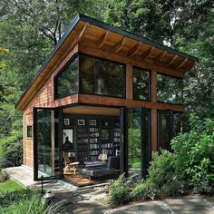 Awesome Modern Tiny House Exterior Design Ideas - There are singles, couples and even families who are opting to live in tiny homes and spend most of their lives traveling and exploring new places. Cabins In The Woods, House In The Woods, House In Nature, Harrison Design, Casas Containers, Tiny House Cabin, Cozy House, Modern Tiny House, Modern Wood House