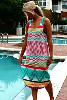 This sleeveless maxi dress is the perfect cover up to wear over your bathing suit! It features a multi colored chevron pattern and border, as well as a back keyhole cutout. Caftan Dress, Beachwear, Swimwear, Bathing Suits, Chloe, Cover Up, Stylish, Summer Fun, Beach House
