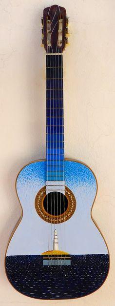 Suena azul. 35x90. Acrílico sobre guitarra.