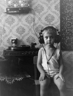 boy with headphones. I don't know who this is, but it's old and awesome