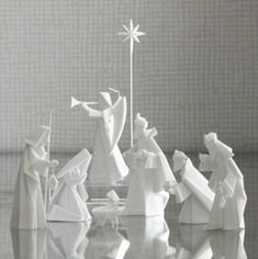 Buy a Dollar Tree Nativity and paint it white.