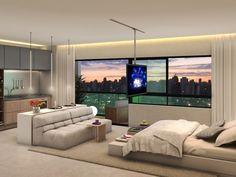 Perspectiva de apartamento de 34m² do GR Living Design Vila Madalena
