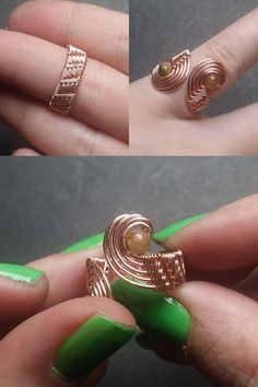 Wire Jewelry Rings, Wire Jewelry Designs, Handmade Wire Jewelry, Beaded Rings, Custom Jewelry, Wire Earrings, Earrings Handmade, Craft Jewelry, Jewellery