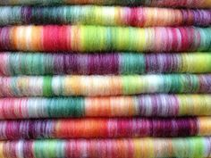 Fruit Tingles  Polwarth Silk Puni / Rolag  Hand by SpinKnitLove