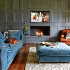 Dusky blue, paneled walls