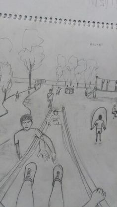You are sliding down a slide in the childrens park. Draw what you see. 1 Point Perspective, Perspective Drawing Lessons, Perspective Sketch, Architecture Drawing Sketchbooks, Architecture Sketches, Cool Drawings, Drawing Sketches, Beautiful Drawings, Pencil Drawings