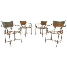 French Art Nouveau Sculptural Iron Garden Patio Chairs