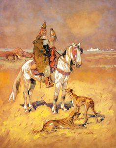 Édouard EDMOND DOIGNEAU (1865-1954) FAUCONNIER AUX SLOUGHIS FALCON HUNTER AND HIS[...], Tableaux et Sculptures Orientalistes at Tajan | Tajan