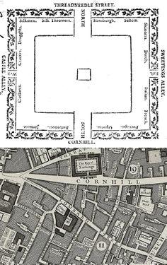 Merchant stalls at the Royal Exchange, 1786.