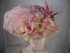 Country Victorian Large Brim Hat with Bird in Mauve 2511