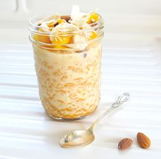 Avoid any problems you might have with oats by dousing whole-grain millet in heavenly spiced milk and topping it with sweet mango. Overnight oats, without oats!