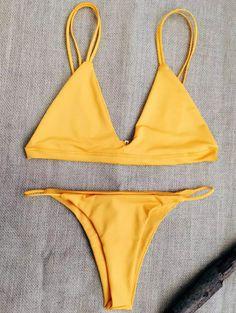 $11.99 Unlined Solid Color Spaghetti Straps Bikini Set - SWEET ORANGE M