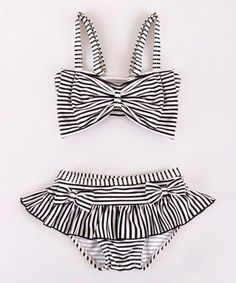 Look at this Mia Belle Baby Black Stripe Bow Bikini Top & Bottoms - Toddler & Girls on today! Toddler Fashion, Toddler Outfits, Kids Outfits, Kids Fashion, Toddler Girls, Baby Outfits, Baby Bikini, Toddler Swimsuits, Kids Swimwear