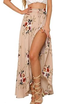 Summer Long Skirt Chiffon Women Skirts White Maxi Skirt For Women Floral Boho Skirt Asymmetrical Jupe Longue Beach Faldas 2017 Long Skirts For Women, Floral Print Skirt, Floral Tie, Floral Maxi, Floral Skirts, Pink Skirts, Pink Maxi, White Maxi, Estilo Boho