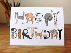 Cats Birthday Card by GingerStripedPatch on Etsy